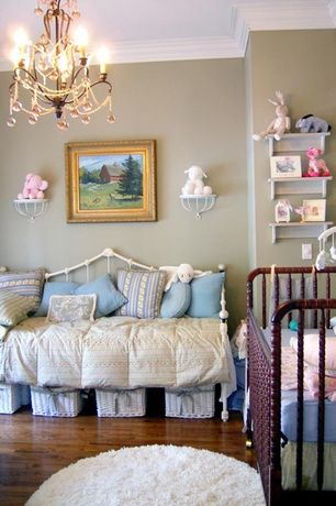 Traditional Kids Bedroom with Crown molding, Hardwood floors, Built-in bookshelf, Tadpoles 3 Light Mini Chandelier  - Diamond