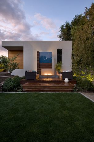 Contemporary Landscape/Yard with Pathway, Paloform Robata Modern Rectangular Concrete Outdoor Fire Pit, Fence, Fire pit