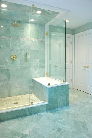 Traditional Master Bathroom with Rain shower, Calacatta gold 1x2 medium brick mosaic tile honed - marble from italy