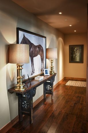 Eclectic Entryway with Cherry - amberwood 5 in. engineered hardwood wide plank, Paint, Standard height, can lights