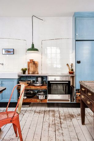 """Eclectic Kitchen with Pendant light, ANP Lighting 20"""" Warehouse Shade Only, Limestone counters, Farmhouse sink, One-wall"""