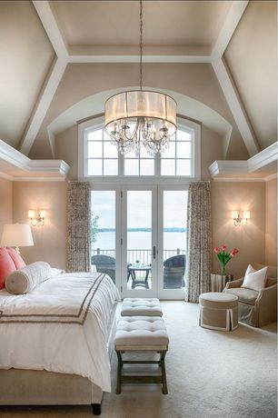 Traditional Master Bedroom with TRIBECCA HOME Silver Mist Hanging Crystal Drum Shade Chandelier, Wall sconce, French doors
