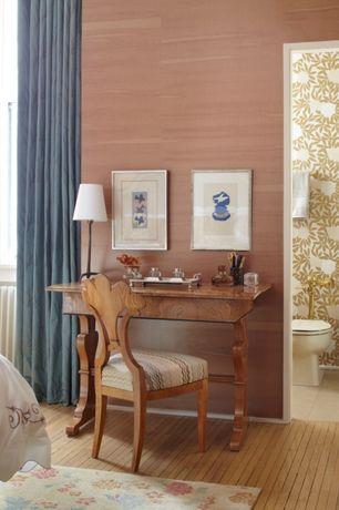 Traditional Guest Bedroom with High ceiling, interior wallpaper, Hardwood floors