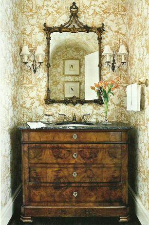 Traditional Powder Room with Powder room, specialty door, Hardwood floors, Undermount sink, Inset cabinets, Standard height