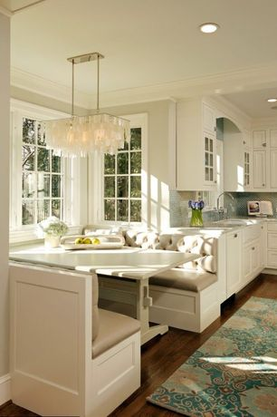 Traditional Kitchen with Breakfast nook, La Phillippe Reclaimed wood Rectangular Dining Table, Ceramic Tile, Glass panel