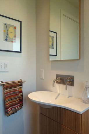 Contemporary Powder Room with European Cabinets, Powder room, Corian counters, Ultracraft destiny slab cabinetry, Paint1