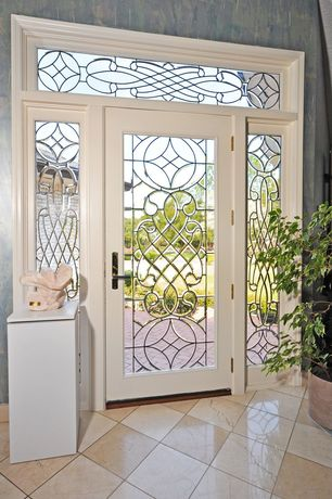 Traditional Entryway with French doors, Transom window, Standard height, simple marble floors