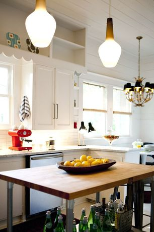 Traditional Kitchen with Chandelier, Ms international andino white granite, European Cabinets, L-shaped, Flush, Stone Tile