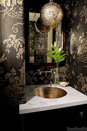 Traditional Powder Room with Oregon tile & marble natural stone slab marble - calacatta michelangelo, Undermount sink, Flush