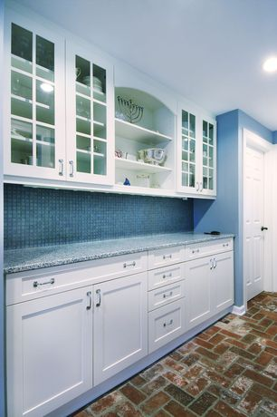 Country Kitchen with full backsplash, Stonemark Granite-Granite Countertop in Azul Platino, Paint, Framed Partial Panel