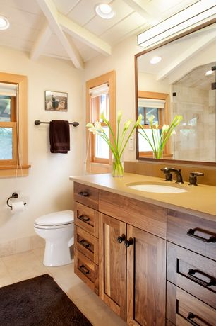 Country Full Bathroom with Wood panel ceiling, can lights, Paint, Fieldcrest luxury bath rugs, stone tile floors