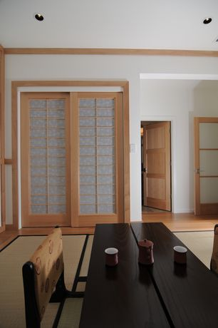 Asian Dining Room with Japanese low coffee table, Crown molding, French fir full lite etched f-1510-e, French doors