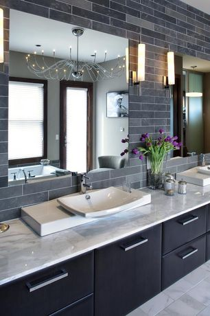 Modern Master Bathroom with Complex marble counters, Decolav classically redefined rectangular vessel bathroom sink, Flush