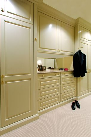Traditional Closet with Crown molding, Dixie home : elan, carpet, Carpet, Kitchen craft, manchester cabinet door style