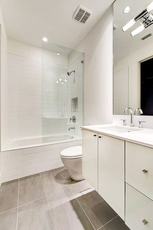 Modern Full Bathroom with Signature Hardware - Rotunda Widespread Bathroom Faucet with Lever Handles, Undermount sink, Flush