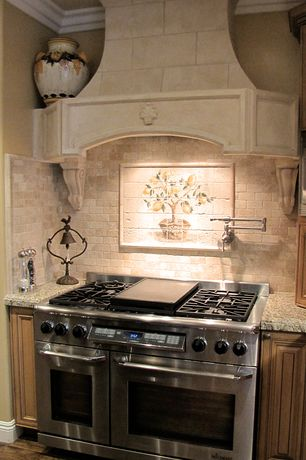 Mediterranean Kitchen with Custom hood, Raised panel, Hickory - eagle nest 5 in. engineered hardwood wide plank, One-wall