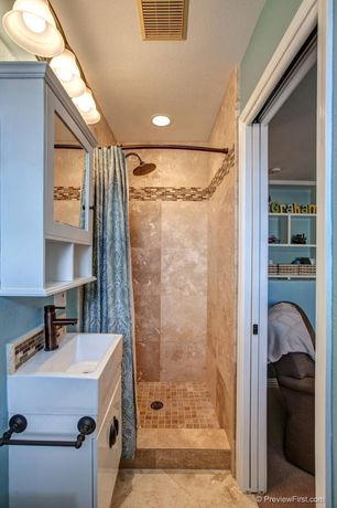Country 3/4 Bathroom with Emser lucente stone blend in tromba, Flat panel cabinets, Rain shower, Undermount sink, Flush