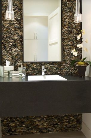 Contemporary Powder Room with Standard height, Soapstone counters, Powder room, stone tile floors, full backsplash, Flush