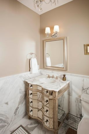 Art Deco Powder Room with Complex marble counters, Powder room, Chandelier, Shelly Double Sconce with Opal Glass Shades
