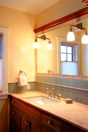 Craftsman Full Bathroom with Wall Tiles, Limestone counters, Standard height, Large Ceramic Tile, Undermount sink, Full Bath