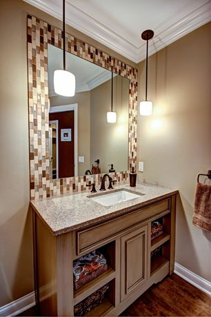 Craftsman Powder Room with Ceramic Tile, Pendant light, Flat panel cabinets, Simple granite counters, Hardwood floors
