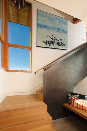 Contemporary Staircase with High ceiling, Hardwood floors, Exposed beam