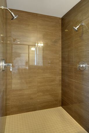 Contemporary 3/4 Bathroom with Shower, MS International Onyx Sand 12 in. x 12 in. x 10 mm Porcelain Mesh-Mounted Mosaic Tile