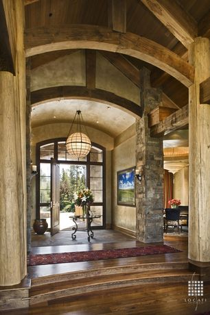 Contemporary Entryway with Venetia studium icaro chandelier, Transom window, Barrel vaulted ceiling, Chandelier, slate floors
