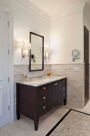 Traditional Full Bathroom with Undermount sink, complex marble tile floors, Paint 1, European Cabinets, Wall Tiles, Full Bath