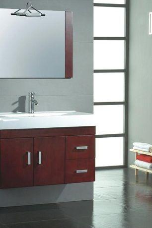 Modern Master Bathroom with Master bathroom, European Cabinets, Flush, Standard height, large ceramic tile floors, Paint