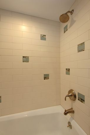 "Modern Full Bathroom with Bedrosians 1-1/6"" x 1-1/6"" stone mosaic tile, Daltile sublime shell ceramic tile"