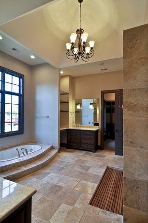 Contemporary Master Bathroom with Limestone counters, Limestone, European Cabinets, Inset cabinets, Flat panel cabinets