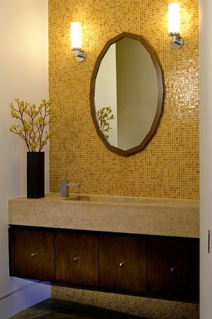 Modern Powder Room with Undermount sink, Limestone counters, High ceiling, Powder room, full backsplash, Concrete tile