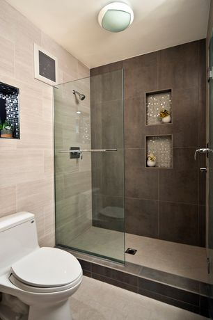 Modern Master Bathroom with Recessed shower niche, Daltile Concrete Connection Eastside Brown Field Tile, Glass mosaic tile