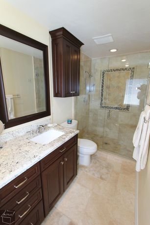 Modern Master Bathroom with Flat panel cabinets, Paint 1, Shower, can lights, stone tile floors, partial backsplash
