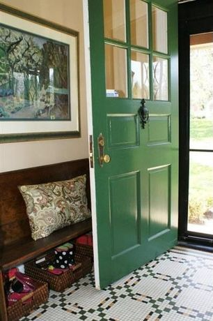 Country Entryway with Oak church pew bench, Glass panel door, Eco displayware eco-friendly storage basket, Carpet