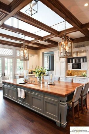 Traditional Kitchen with Paint, Limestone counters, Flush, Undermount sink, Transom window, Hardwood floors, L-shaped