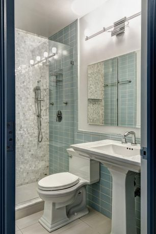 Contemporary 3/4 Bathroom with Wall Tiles, Shower, stone tile floors, Pedestal sink, Standard height, three quarter bath