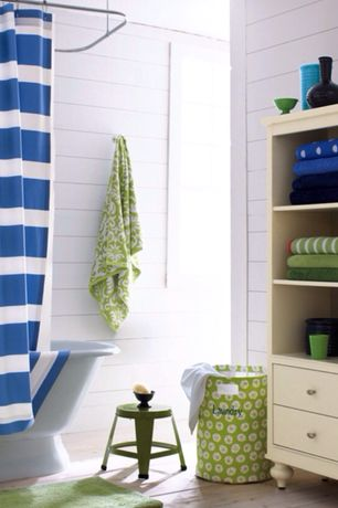 Traditional Full Bathroom with Freestanding, Shower, Full Bath, curtain showerdoor, Paint, Chase cabana shower curtain