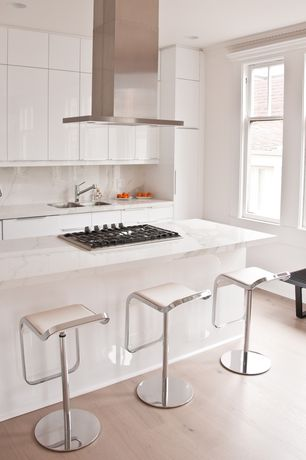 Contemporary Kitchen with Design Within Reach LEM Piston Stool with Leather Seat, Flush, Complex marble counters, U-shaped