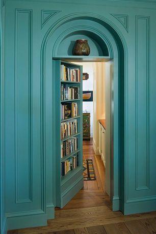 Traditional Hallway with Built-in bookshelf, specialty door, Murphy Door Assembled Prehung Doorway Bookcase Package
