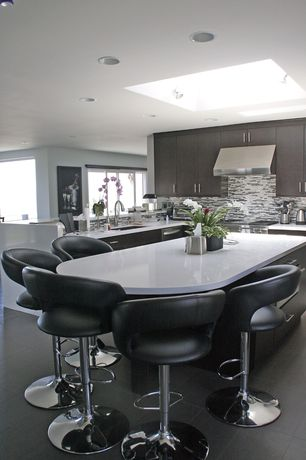 Contemporary Kitchen with L-shaped, Corian counters, European Cabinets, flush light, Undermount sink, Breakfast nook, Flush