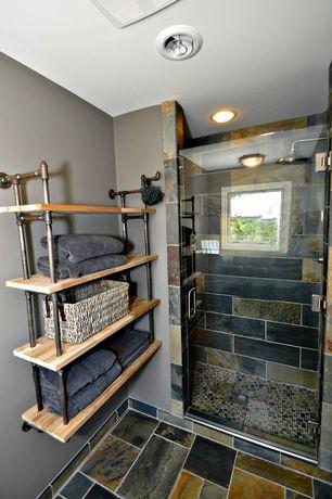 Contemporary 3/4 Bathroom with frameless showerdoor, slate tile floors, Daltile slate tile, Rain shower, stone tile floors