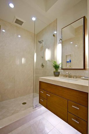 Contemporary 3/4 Bathroom with Limestone counters, European Cabinets, Ceramic Tile, Flush, Daltile arctic gray limestone