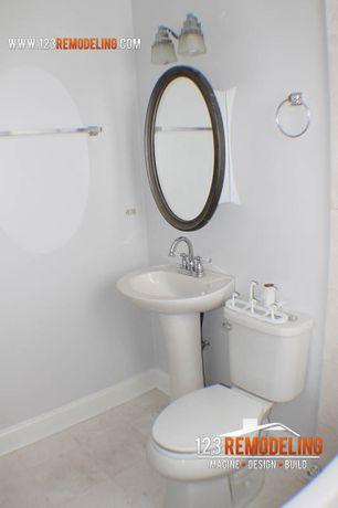 Contemporary Master Bathroom with Murray Feiss - Delaney 2 Light Bathroom Vanity Light, limestone tile floors, Pedestal sink