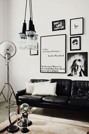Contemporary Living Room with High ceiling, Ikea Karlstad Loveseat Tufted, Pendant light, Spotlight Metal Tripod Floor Lamp