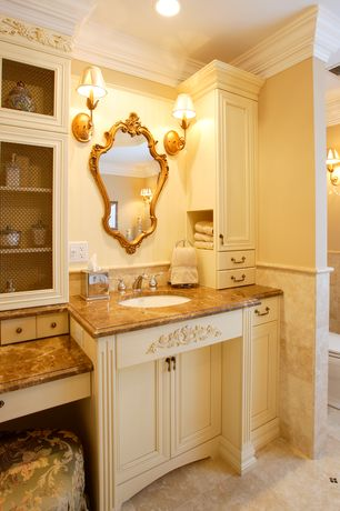 Traditional Master Bathroom with Flush, Slate counters, Wall sconce, Crown molding, Undermount sink, Flat panel cabinets