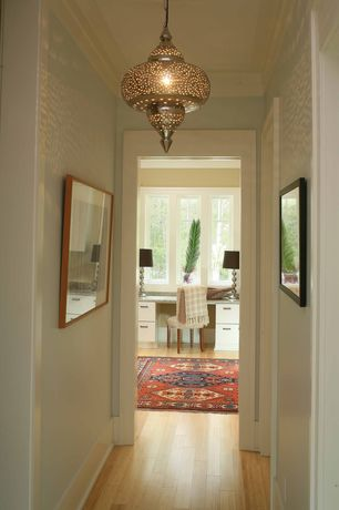 Traditional Hallway with Moroccan punched metal lamp, Paint 1, Hardwood floor, Paint 2