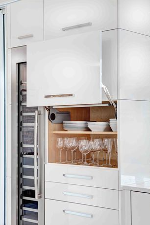 Contemporary Kitchen with Wine refrigerator, Riedel Vinum XL Oaked Chardonnay 4 Piece Value Set, High ceiling, One-wall