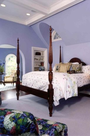Traditional Master Bedroom with Built-in bookshelf, Crown molding, Hardwood floors, Exposed beam, Arched window, can lights